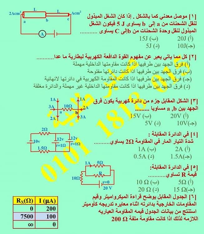 تجميع لمراجعات و امتحانات الفيزياء     للصف الثالث الثانوى 2021  للتدريب و الطباعة  12851