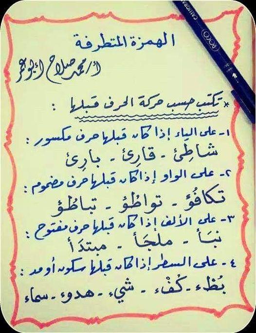 الهمزة المتطرفة   تكتب حسب حركة الحرف قبلها 13079