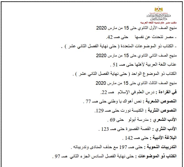 المقرر من منهج اللغة العربية لجميع المراحل ابتدائي - اعدادي - ثانوي  حتي 15 مارس 2020 1313