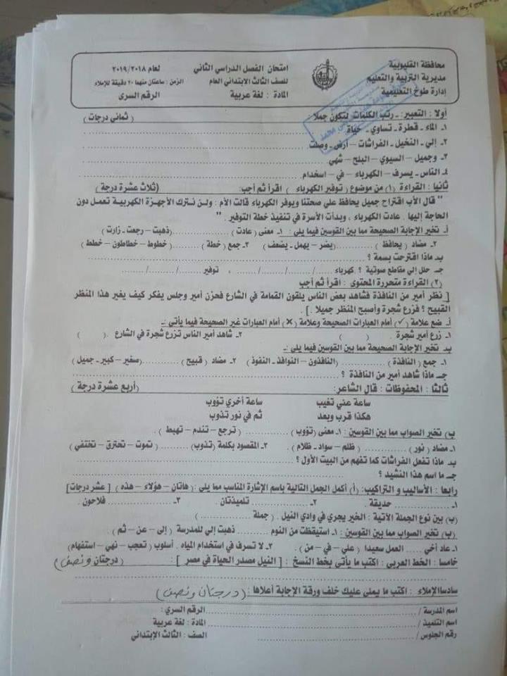 امتحان اللغة العربية للصف الثالث الابتدائي ترم ثاني 2019 ادارة طوخ التعليمية 13133