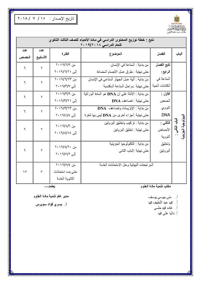 توزيع منهج الأحياء للصف الأول والثاني والثالث الثانوي 2018 / 2019 1315