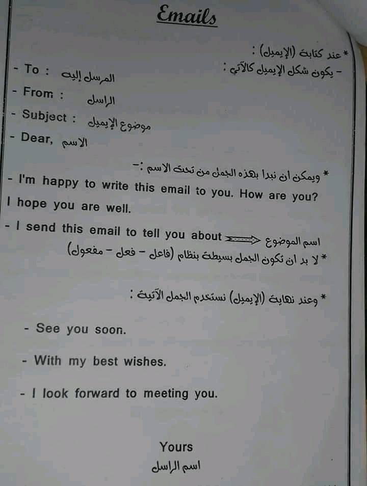 لغة انجليزية l  كتابة الايميل 13253