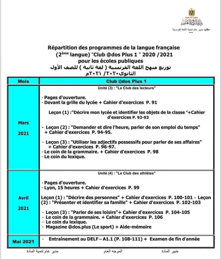 توزيع منهج اللغة الفرنسية للصفين الاول والثانى الثانوى الترم الثاني ٢٠٢١ 13337