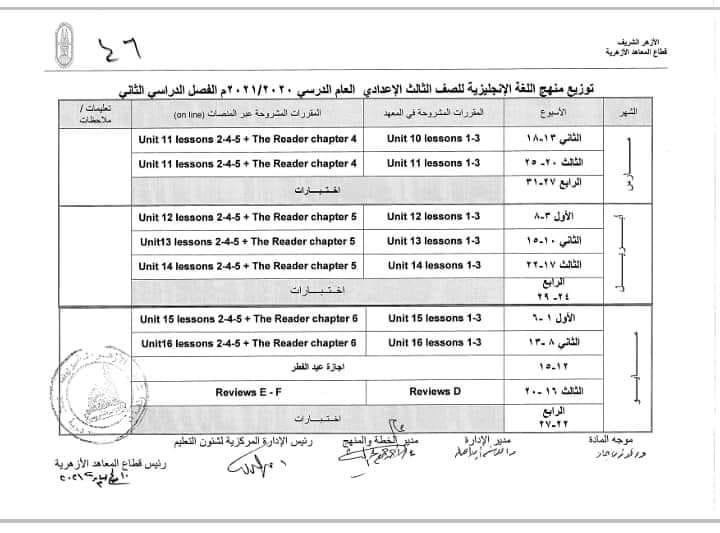 توزيع منهج لغة انجليزية تالته اعدادي أزهر الترم الثاني 13355