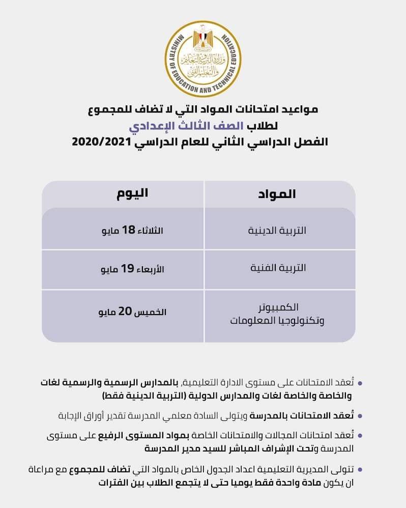 امتحانات المواد التي لا تضاف للمجموع للصف الثالث الاعدادي 2021 13524