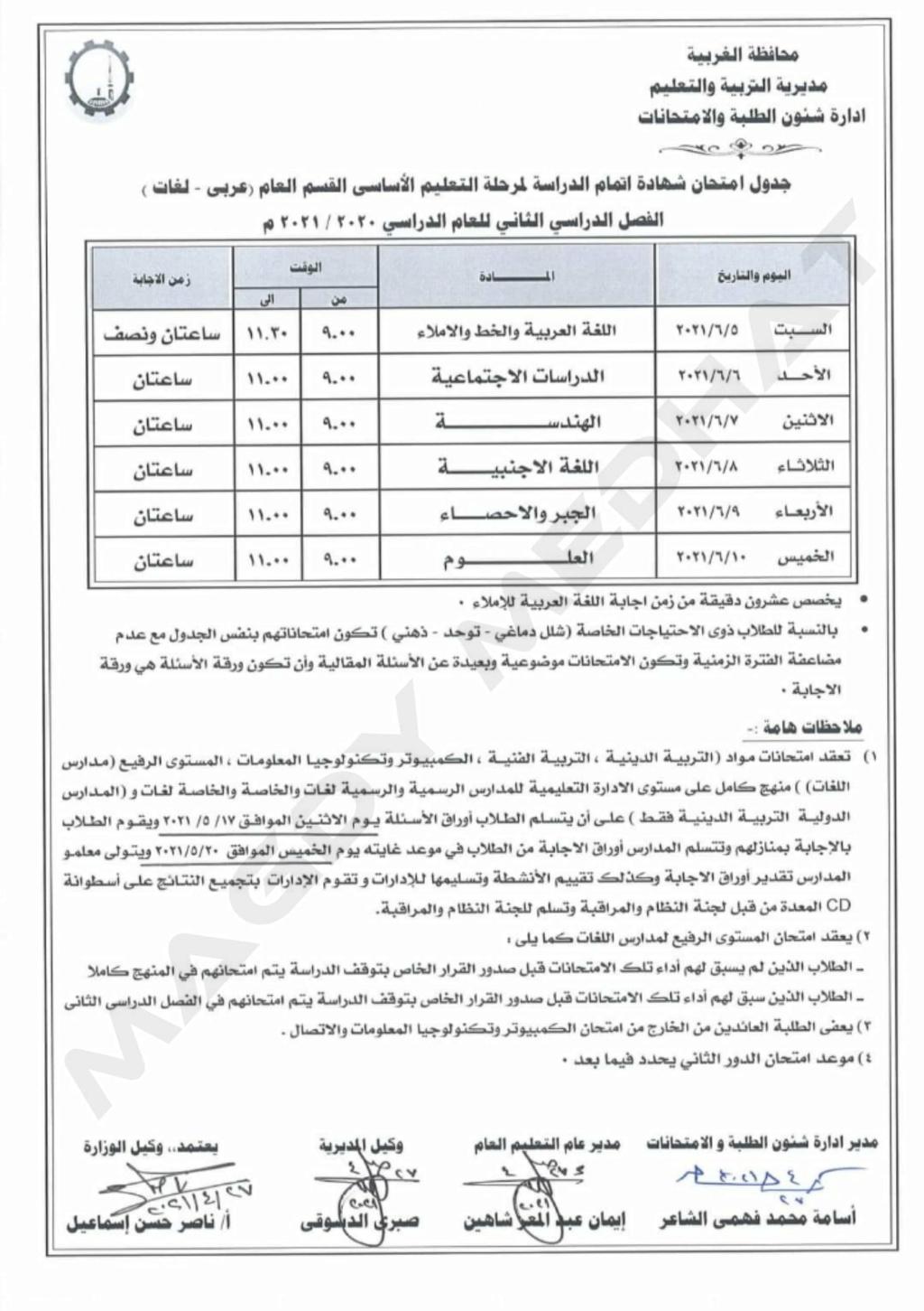"""جدول امتحانات الشهادة الاعدادية الترم الثاني 2021 """"جميع المحافظات"""" - صفحة 2 13530"""