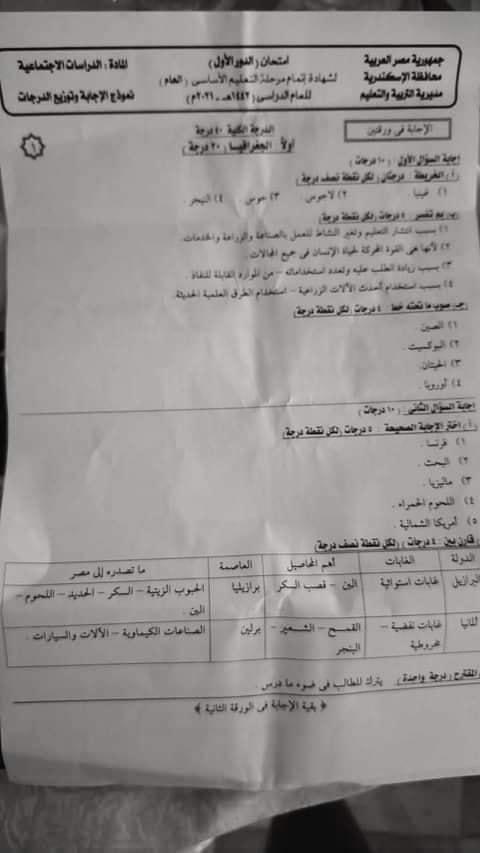 نموذج الإجابة الرسمي وتوزيع الدرجات لامتحان الدراسات للشهادة الإعدادية ترم ثاني ٢٠٢١ محافظة الاسكندرية 13763
