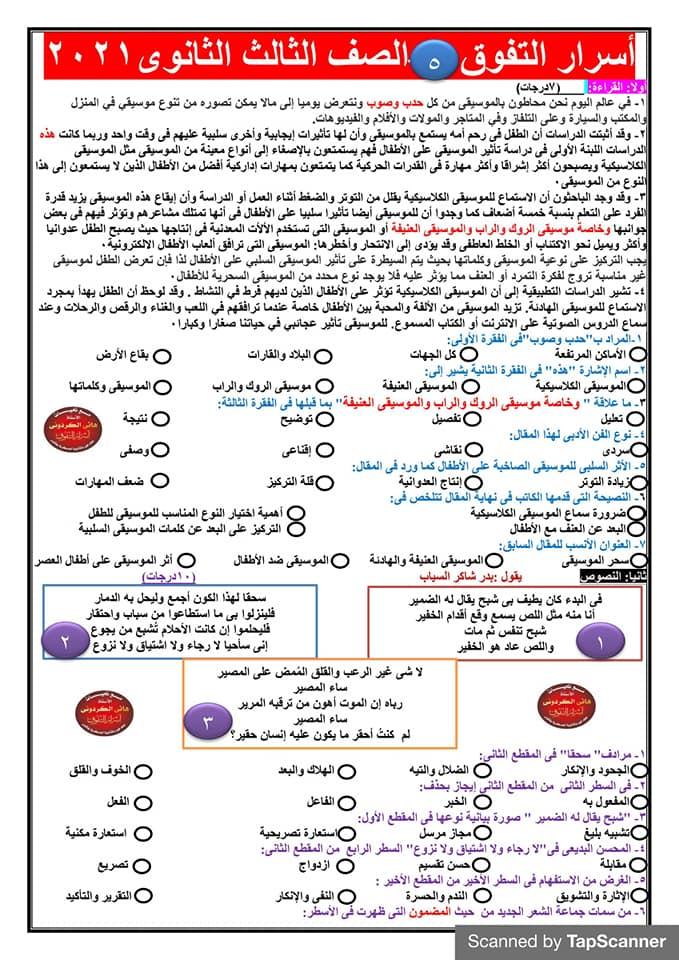 روشتة التفوق في اللغة العربية للثانوية العامة حسب نظام الامتحانات الجديد  13786