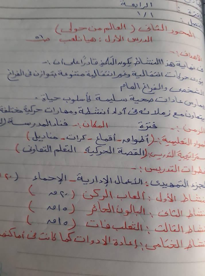 الدرس الأول من المحور الثاني (تربية بدنية ) للصف الاول الابتدائى 1379