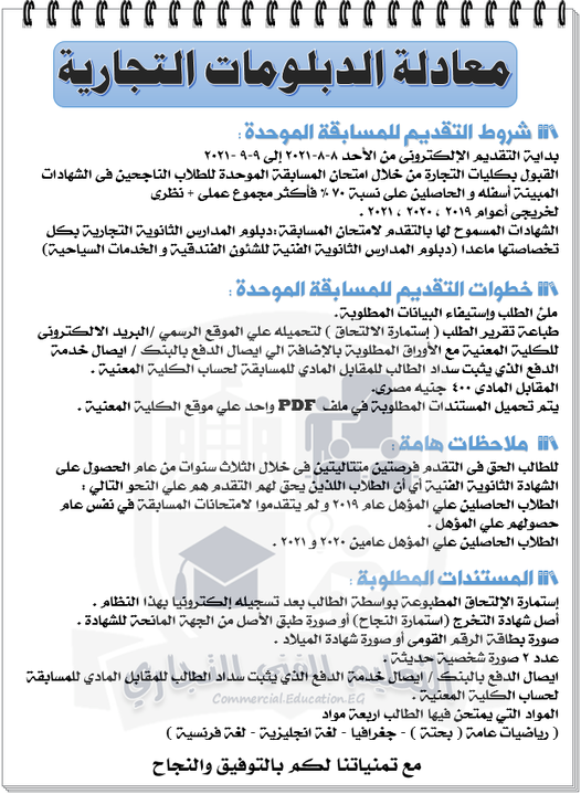 لطلبة الدبلومات   المسابقة المركزية الموحدة للإلتحاق بكليات التجارة بالجامعات المصرية 1401