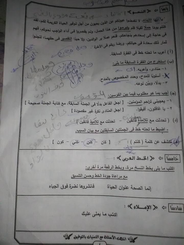 نموذج الاجابة الرسمي لامتحان اللغة العربية 3 اعدادي محافظة الجيزه ترم أول 2019 14104