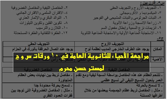 مراجعة الأحياء للثانوية العامة في 10 ورقات س و ج لمستر حسن محرم 143