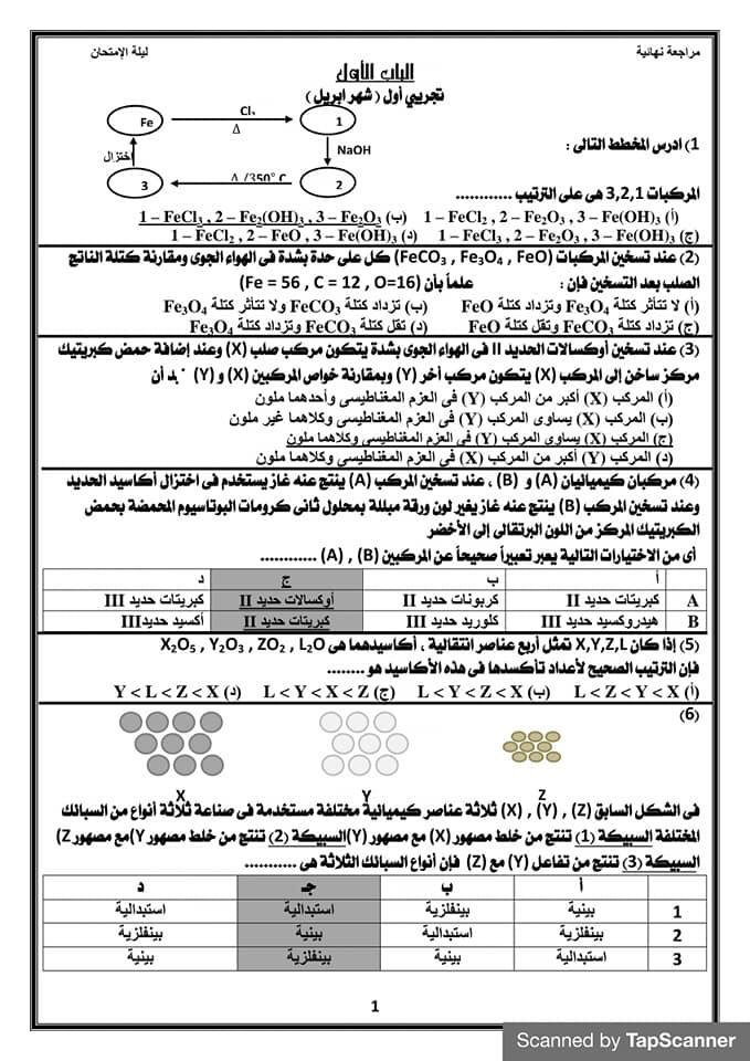 مراجعه ليله الامتحان كيمياء للثانوية العامة أ/ جمال طه 14325