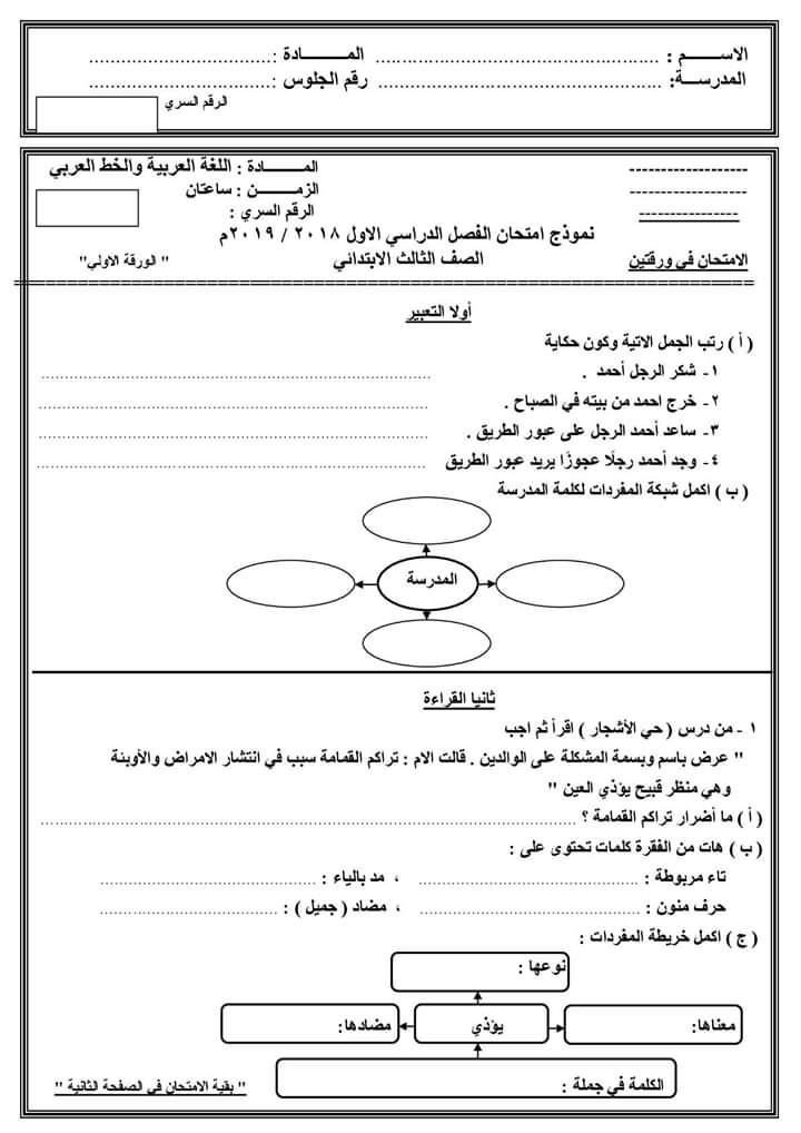 امتحانات الصف الثالث الابتدائي لغة عربية وحساب ولغة انجليزية وتربية دينية ترم أول 2019 1434