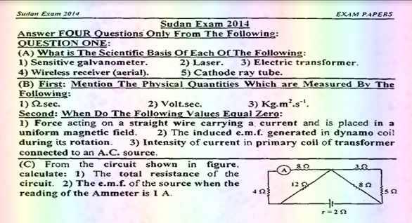 مراجعة Physics للثانوية العامة لغات.. جميع امتحانات السودان من 2014 الى 2019 بالاجابات 14435