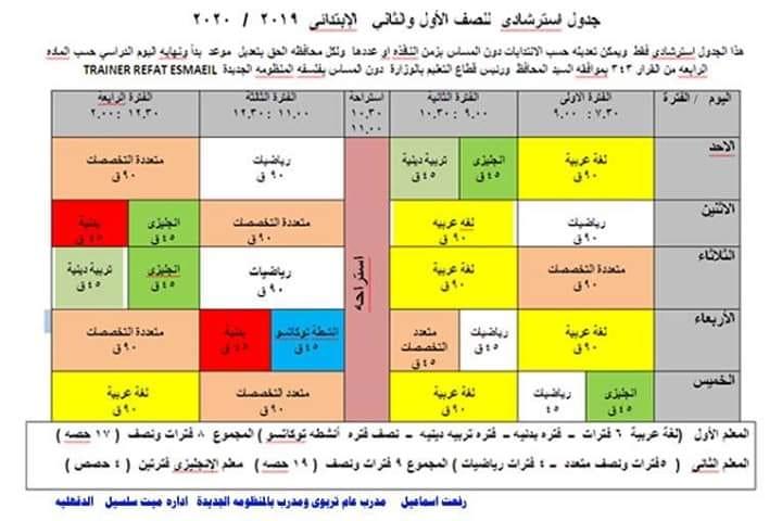 جدول الحصص للصف الأول والثاني الابتدائي 2019 / 2020 حسب النظام الجديد 14720