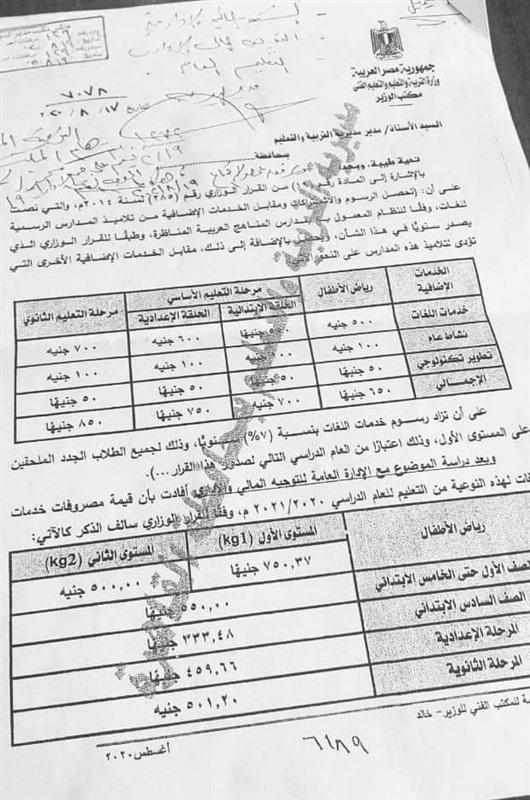مصروفات العام الدراسي الجديد ٢٠٢٠  14727