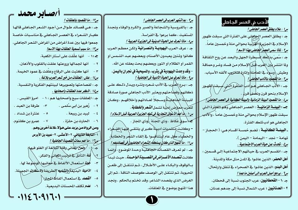 لطلاب أول الثانوي.. 4 ورقات فقط بهم 50% من امتحان اللغة العربية النظام الجديد أدب و نحو 1577