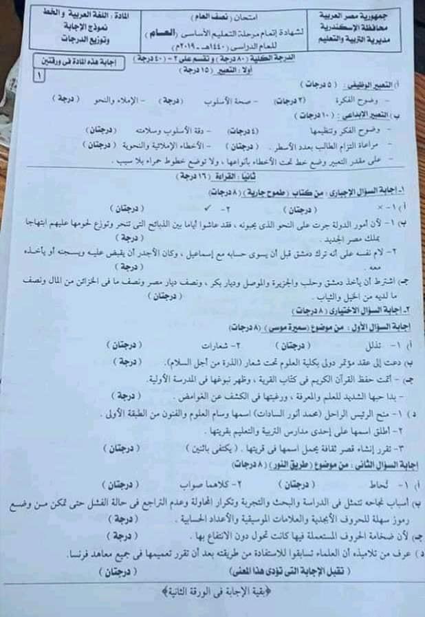 إجابة  امتحان اللغة العربية للصف الثالث الاعدادي ترم أول 2019 محافظة الاسكندرية 1632