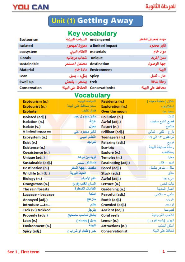 لغة انجليزية: مذكرة you can للصف الأول الثانوي الترم الاول 2021 182