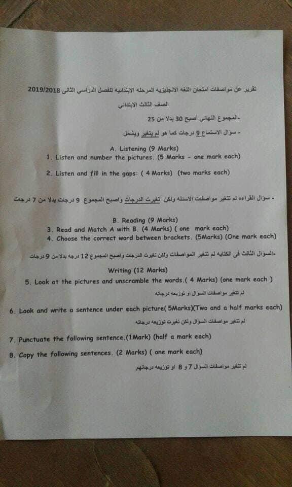 """عاجل.. تعديل مواصفات امتحانات اللغة الانجليزية للصفوف الابتدائية """"مستند"""" 1844"""