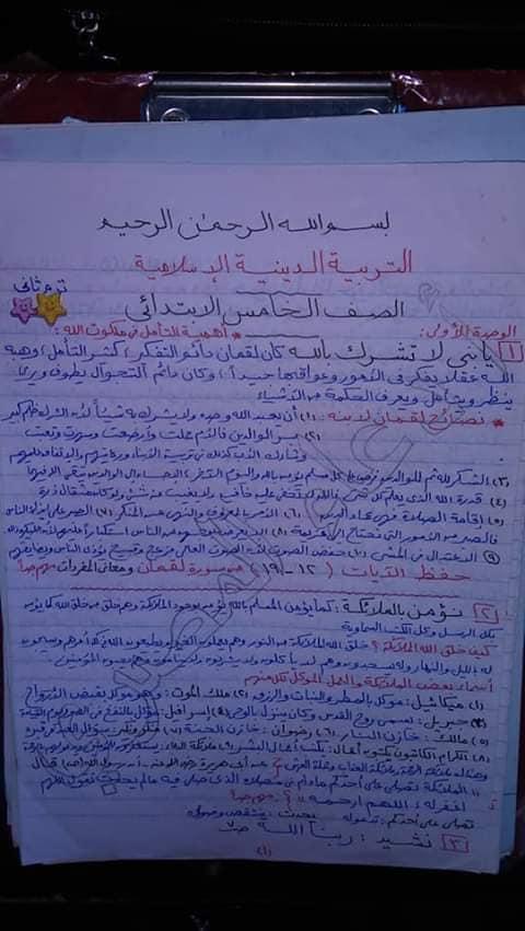 مراجعة الدين للصف الخامس الابتدائي ترم ثاني أ/ دعاء المصري 1894