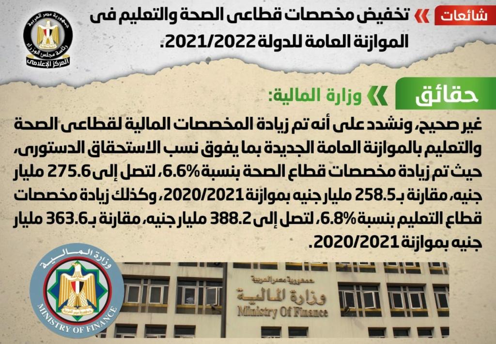 الحكومة تنفي تخفيض مخصصات الصحة والتعليم بموازنة 2021/2022  19165210