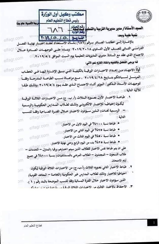 رسمياً.. التعليم تصدر فاكس تعليمات امتحانات أولى ثانوي مايو 2019.. وتؤكد لا امتحانات ورقية الا للضرورة 1960