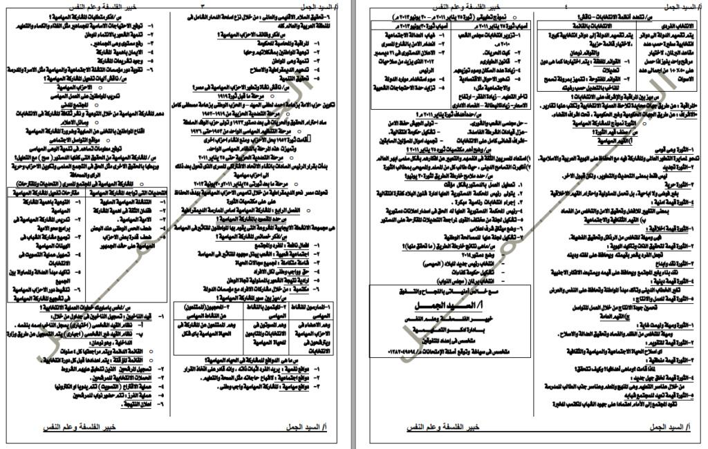 ملخص مواطنة ثالثة ثانوي فى 4 ورقات 2103