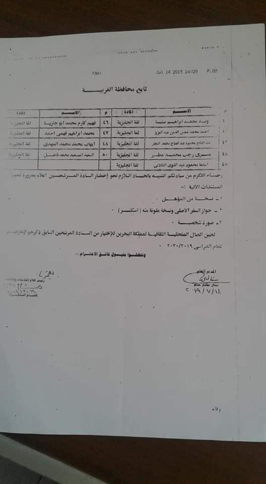 ننشر أسماء المعلمين المعارين لدولة البحرين 21072