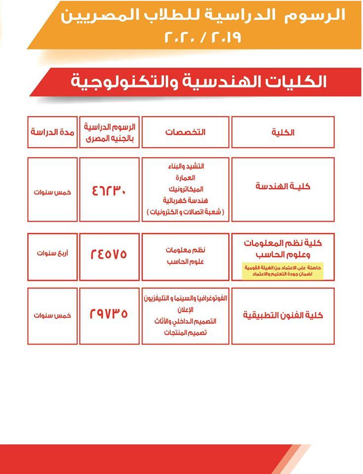 """تنسيق ومصروفات كليات جامعة 6 اكتوبر 2020 """"بيان رسمي"""" 21086"""