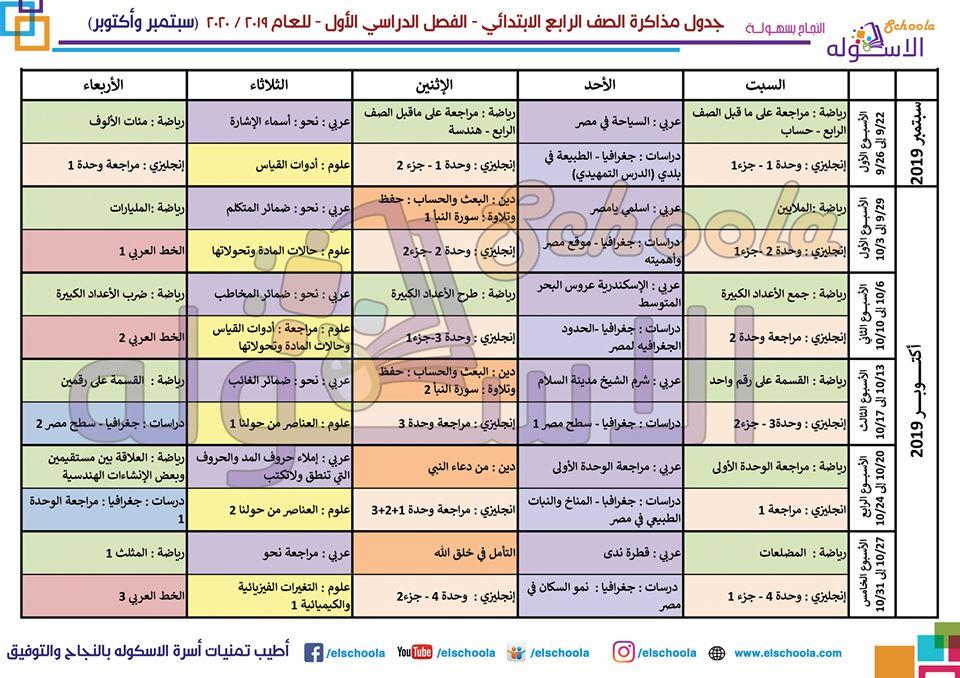 جدول مذاكرة الصف الرابع الابتدائي 2019 - 2020 21209