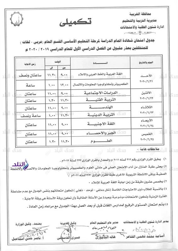 جداول امتحانات الدور الثاني 2020 بمحافظة الغربية 21557
