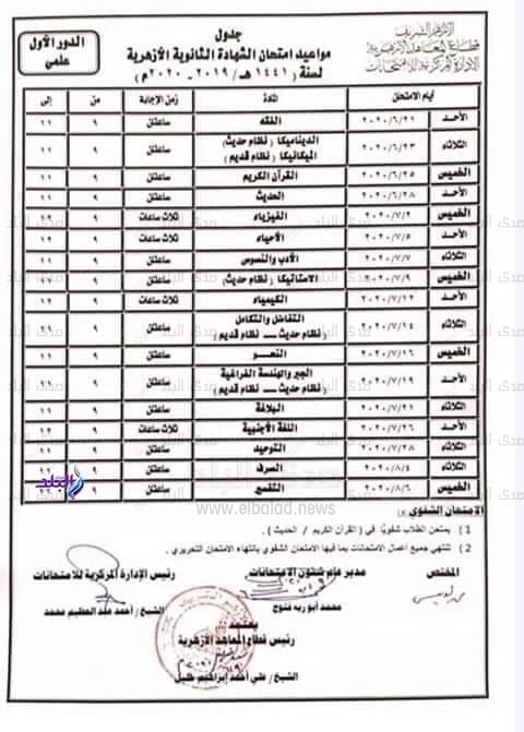 جدول امتحانات الثانوية الأزهرية 2020 بعد التعديل الأخير 21563