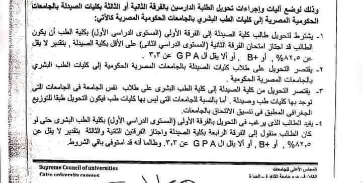 المجلس الأعلي للجامعات يعلن شروط التحويل من كلية الصيدلة لكلية الطب 21682