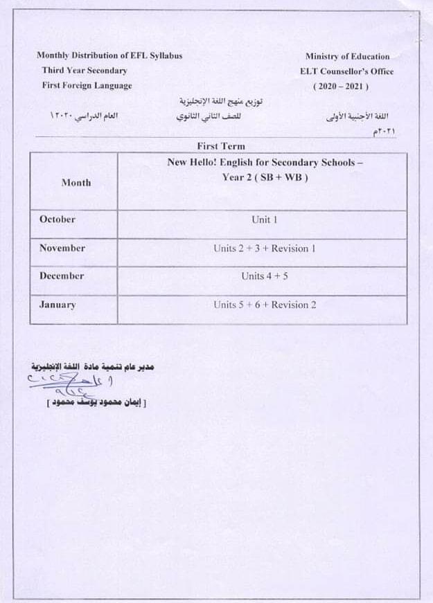 توزيع منهج اللغة الانجليزية الجديد للصف الثاني الثانوي ترم أول 2020 / 2021 21701