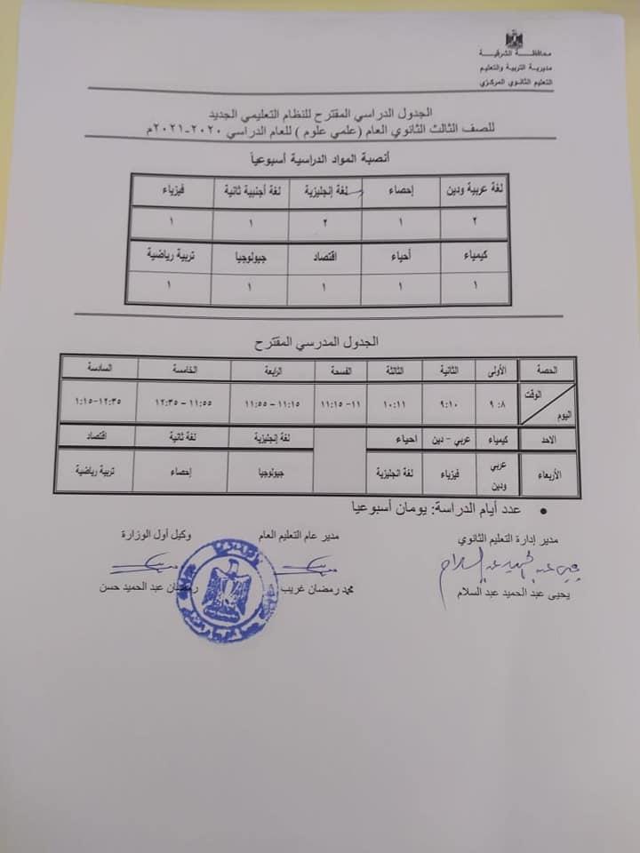 الجدول الدراسي المقترح لصفوف الثانوي العام - النظام الجديد للعام 2020 / 2021 21736