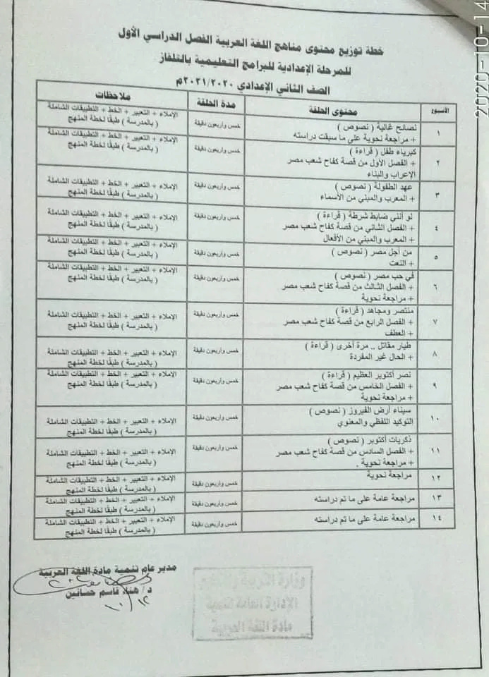 خطة توزيع محتوى منهج اللغة العربية الترم الأول للمرحلة الاعدادية للبرامج التعليمية بالتلفزيون المصرى 21775