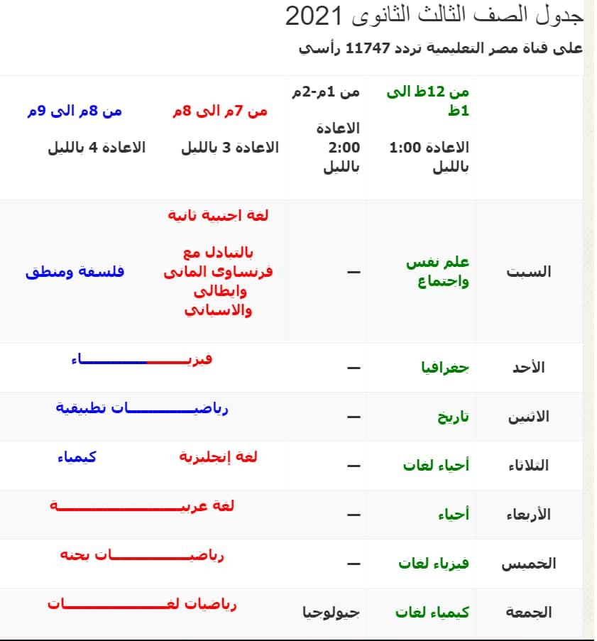 جدوال البرامج التعليمية للعام الدراسي ٢٠٢٠-٢٠٢١ - من الصف السادس الابتدائي حتي الصف الثالث الثانوي  21781