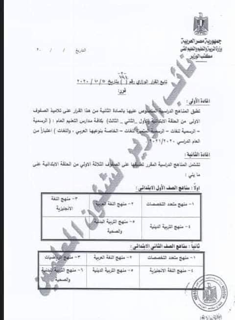 التعليم : قرار  الوزاري 194 لسنة 2020 بشأن مقرارات الصفوف من الأول حتى الثالث الابتدائى 21808