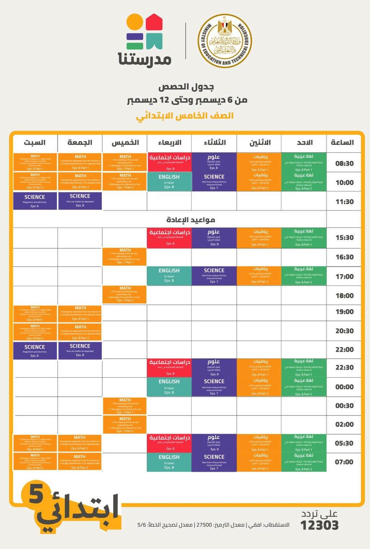 جدول حصص قناة مدرستنا الأسبوع الثامن لصفوف المرحلتين الابتدئية والاعدادية 21866