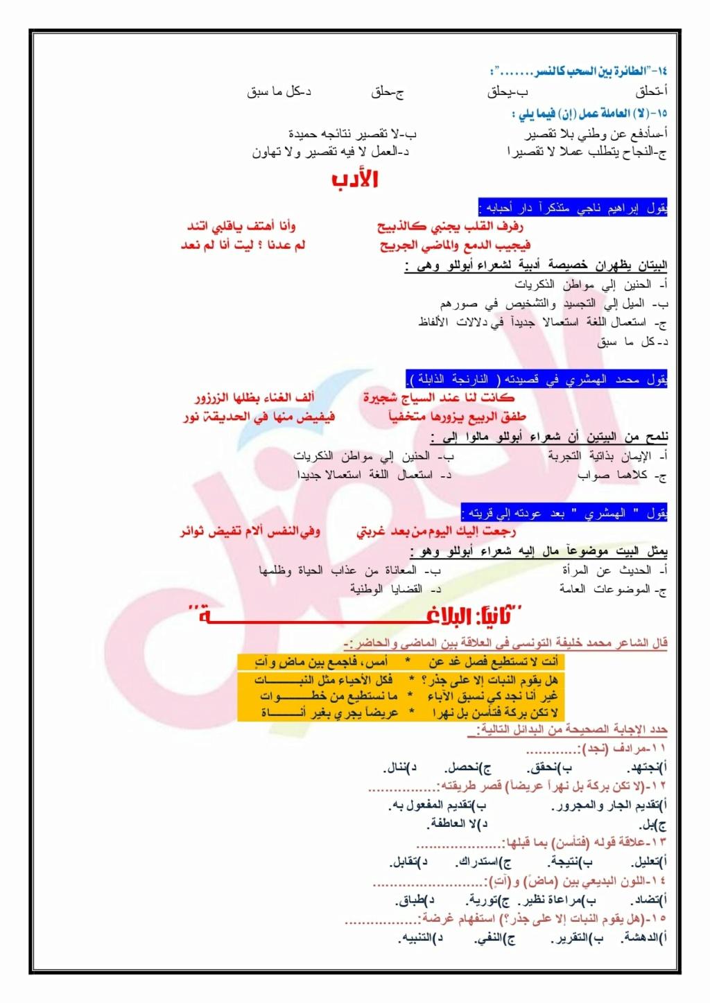 امتحان لغة عربية تدريبي للصف الثالث الثانوي 2021 أ/ محمد رفعت فضل 21985