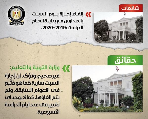 الحكومة تصدر بيان بشأن إجازة يوم السبت.. وتؤكد: لا تغيير في عدد أيام الدراسة الأسبوعية 22044
