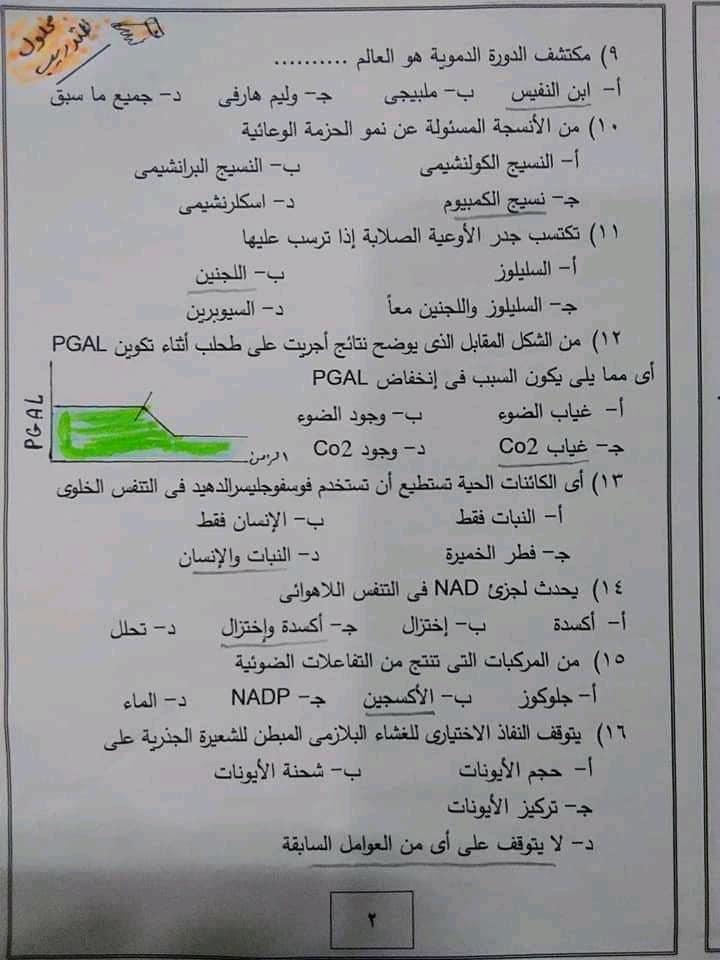 امتحان احياء محلول للصف الثاني الثانوي حسب النظام الجديد 22092