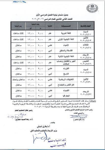التعليم تصدر تحذير للمدارس التى سوف يعقد بها امتحان الصفين الاول والثاني الثانوي (مستند) 22169