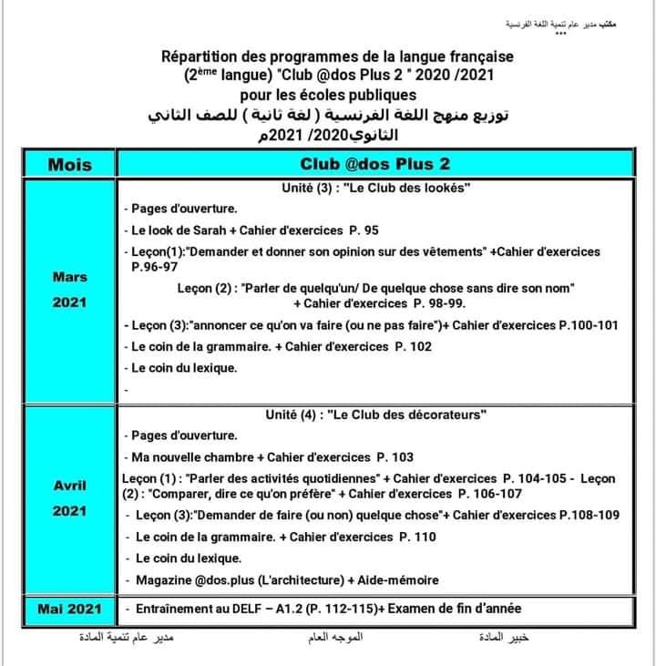 توزيع منهج اللغة الفرنسية للصفين الاول والثانى الثانوى الترم الثاني ٢٠٢١ 22341