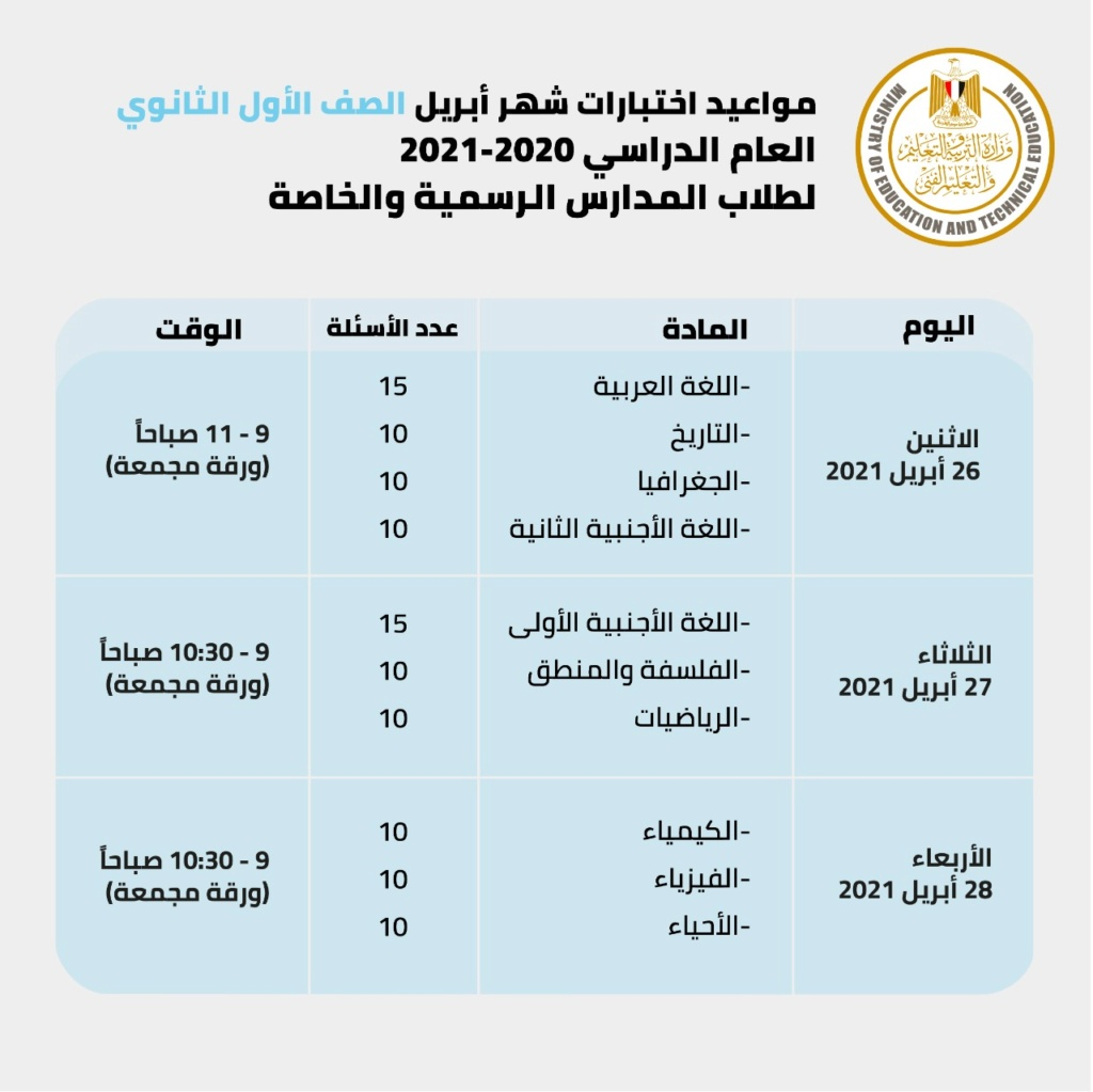 جدول امتحانات أبريل للصفين الأول والثاني الثانوي وعدد أسئلة امتحان كل مادة 22362