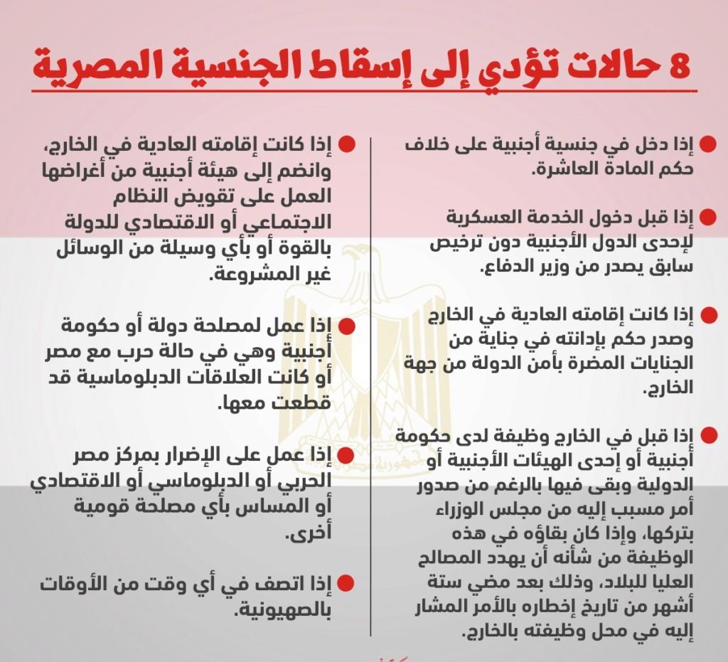 حالات إسقاط الجنسية المصرية | المادة 16 من قانون الجنسية المصرية 22751