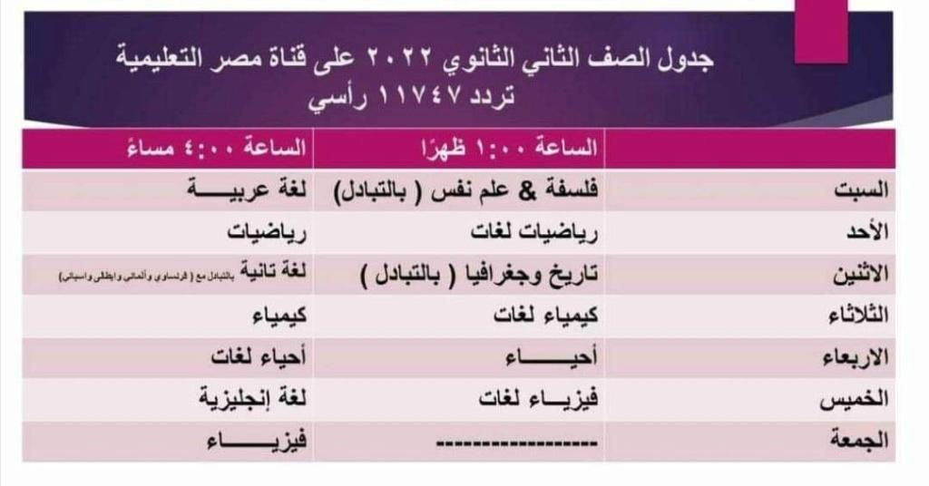 جدول قناه مصر التعليميه برنامج مدرسه علي الهواء لصفوف ابتدائي واعدادي وثانوي مواعيد 2022 22787
