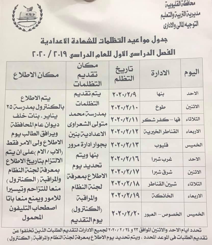 مواعيد جدول تظلمات الشهاده الاعداديه الفصل الدراسي الاول 2020 وخطوات عمل التظلم  23154